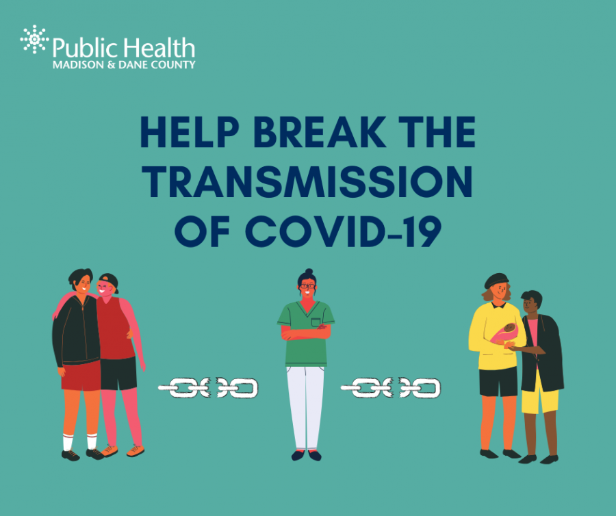 "Graphic showing people separated by broken chains that says ""Help break the transmission of COVID-19"""