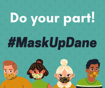"""This is an illustrated graphic. It says """"Do your part! #MaskUpDane"""" and has four characters wearing masks."""
