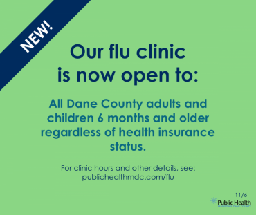 Graphic that says: our flu clinic is now open to everyone